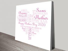Custom Italic Hearts Mothers Day Word Art