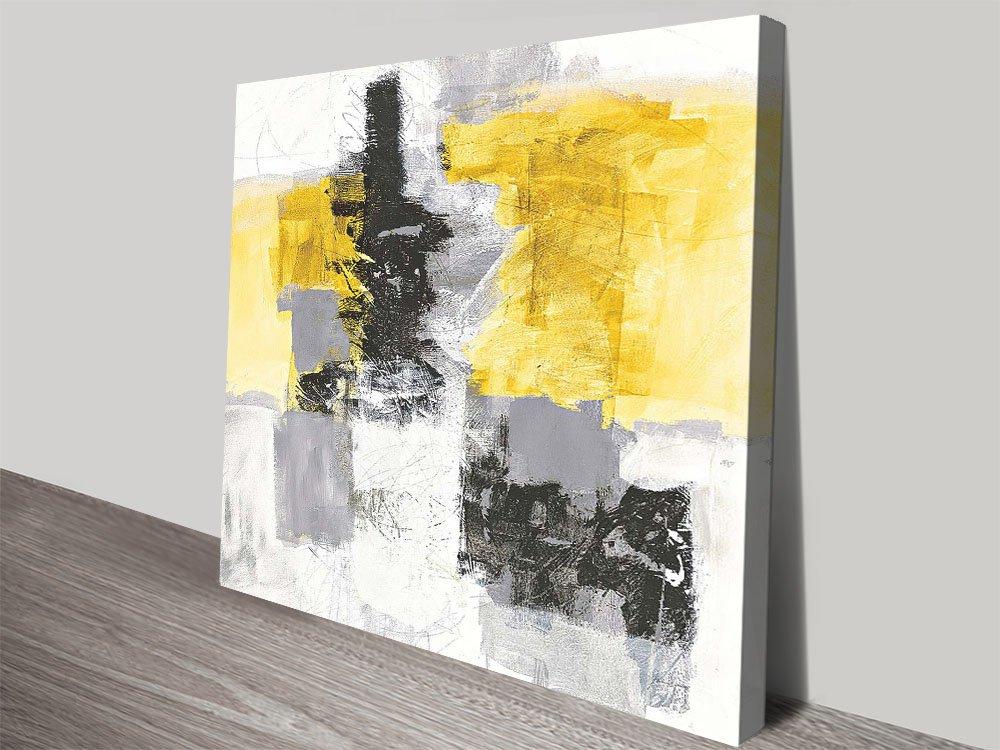 Action II Yellow & Black Contemporary Art