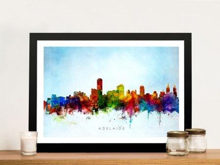 Framed Colourful Adelaide Skyline Wall Art