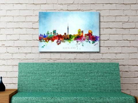 Ready to Hang Auckland Skyline Watercolour Art