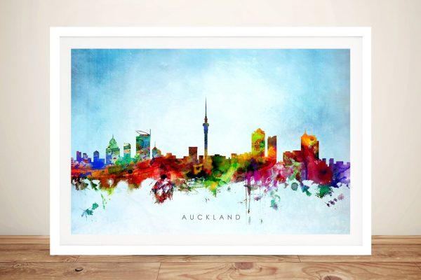 Colourful Framed Auckland Skyline Print