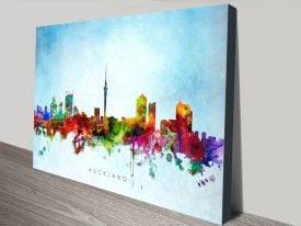 Auckland Skyline Stretched Canvas Wall Art