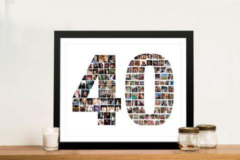 Framed Number Photo Collage Artwork