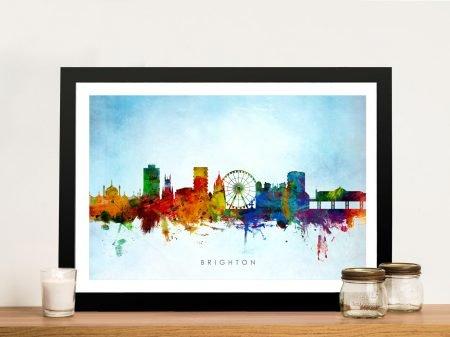 Framed Brighton Watercolour Skyline