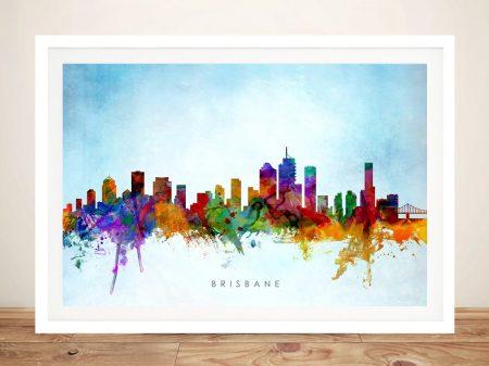 Brisbane Skyline Framed Print on Canvas
