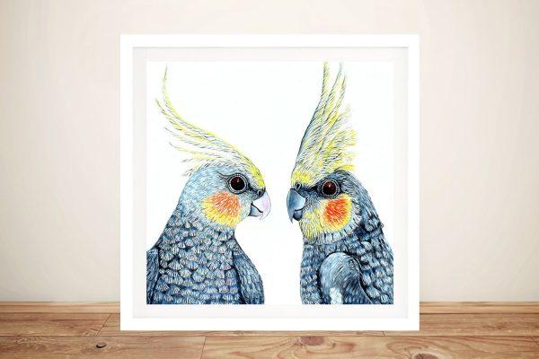 Cheeky Cockatiels Australian Birds Wall Art