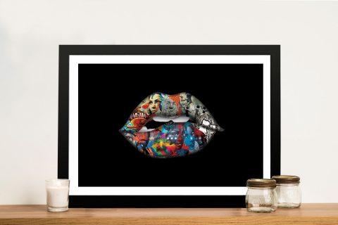 Framed Graffiti Lips Canvas Art Online