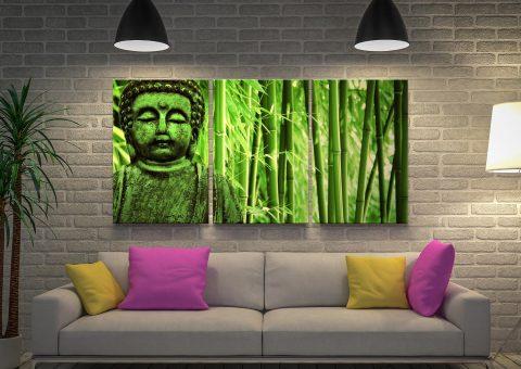 Green Buddha 3 Piece Canvas Print Set