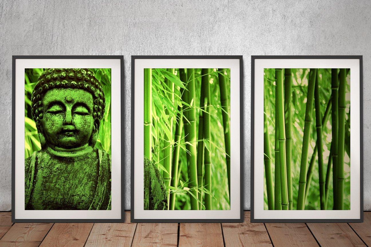 Green Buddha 3 Piece Framed Art