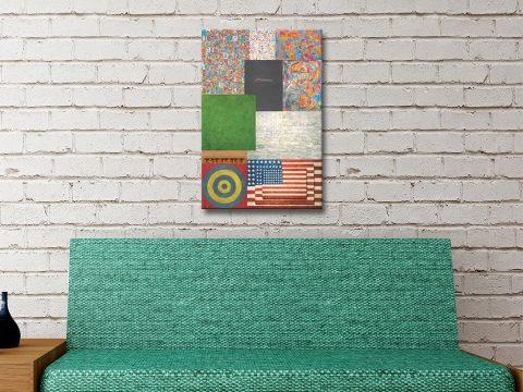 Jasper Johns Collage Canvas Artwork