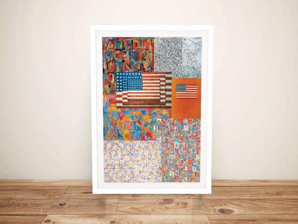 Framed Jasper Johns Abstract Art Collage