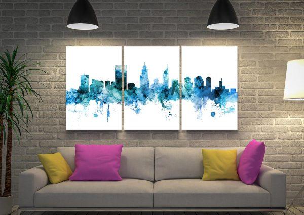 Perth Skyline Blue Watercolours Triptych Wall Art