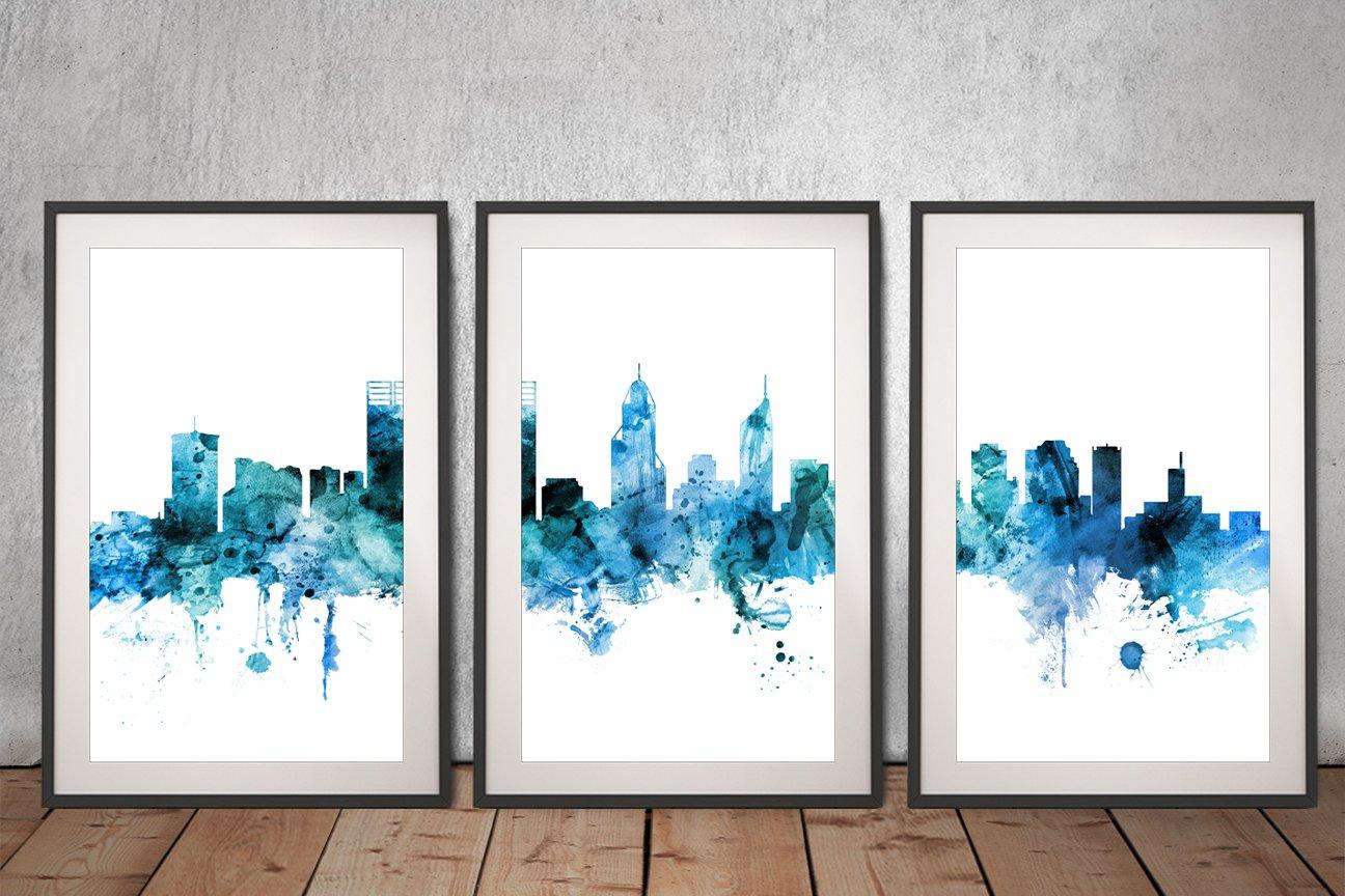 Perth Skyline 3 Piece Framed Artwork