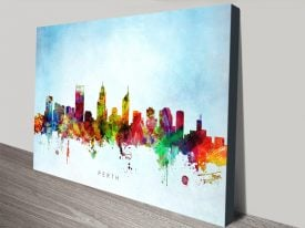 Perth Skyline Colourful Wall Art