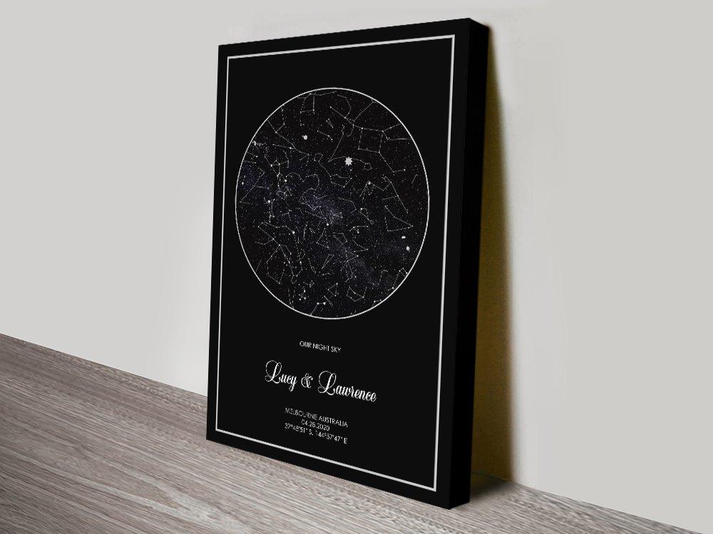 Custom Silver Star Map canvasprint