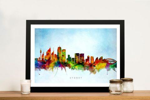 Sydney Skyline Colourful Print on Canvas