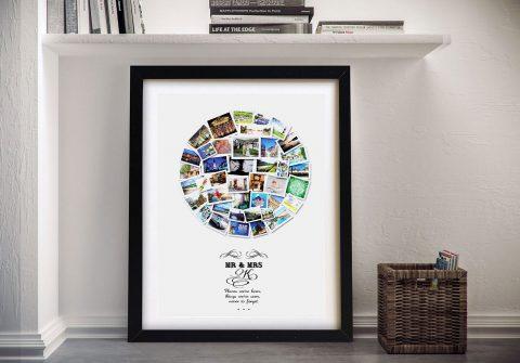 Framed Circular Custom Collage Canvas Art