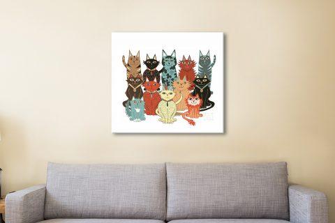 A Dozen Cats Ready to Hang Wall Art AU