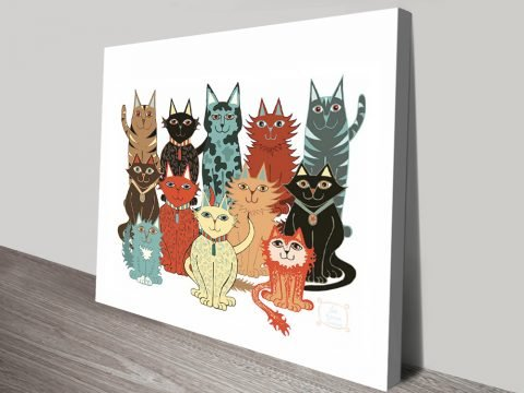 A Dozen Cats Quirky Print on Canvas