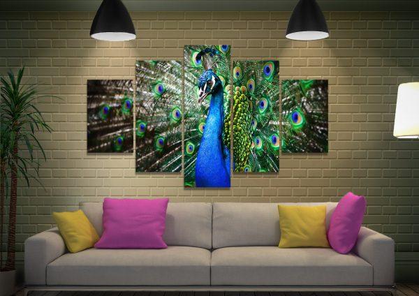 Ready to Hang Split Panels Peacock Artwork