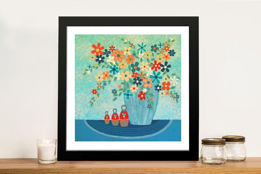 Babushka Love Floral Print on Canvas