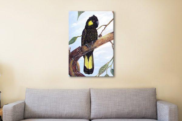 Black Cockatoo Watercolour Canvas Print