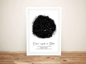 Once Upon a Star Black & White Star Map