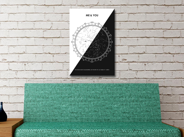 Black and white star map artwork
