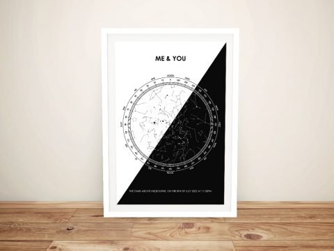 Black-and-white-star-map Framed Wall Art