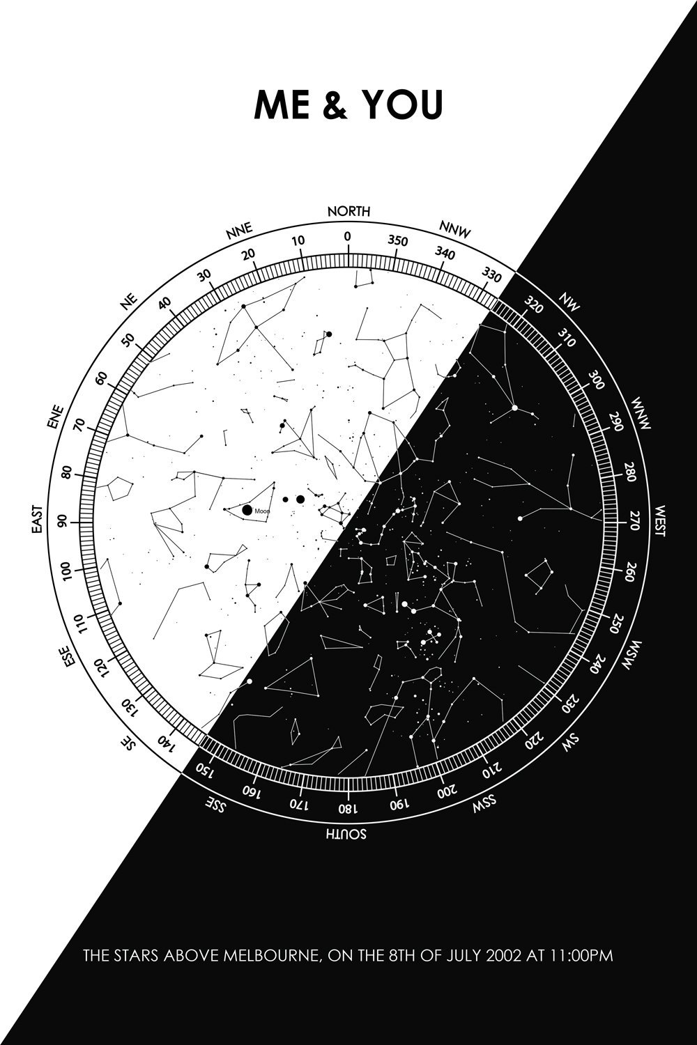 Personalised Black and white star map