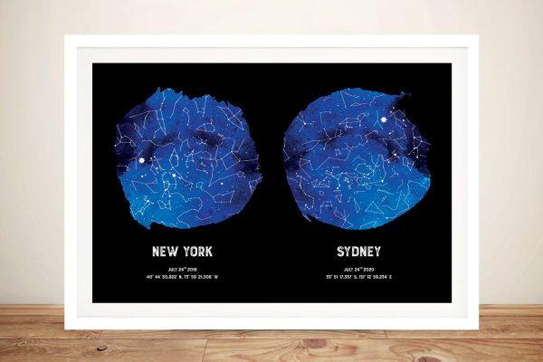 Blue Dual Star Map Custom Wall Art