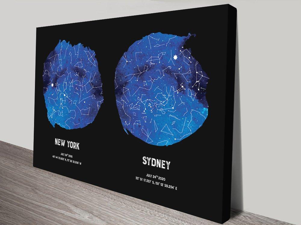 Dual Star Map in Blue & Black Gift Ideas AU