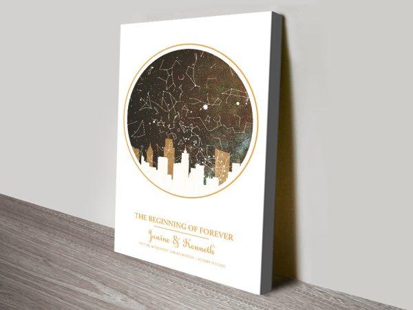 City silhouette star map design gold canvas print