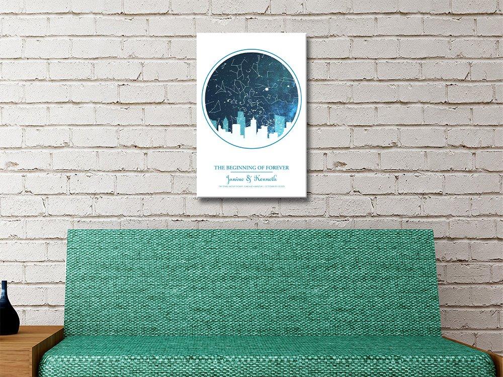 City silhouette star map blue Print
