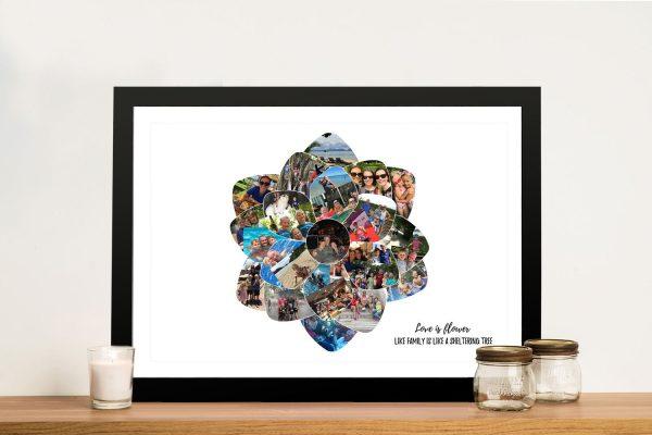 Framed Canvas Flower Shape Collage Art