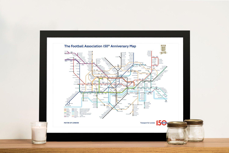 Framed Football Legends Tube Map Canvas Art
