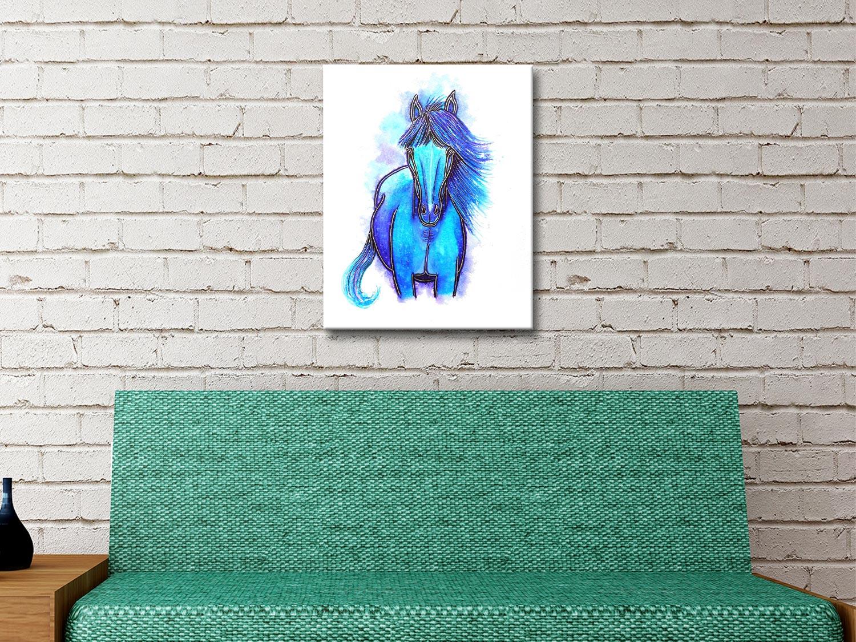 Free Spirit Blue Watercolour Horse Art