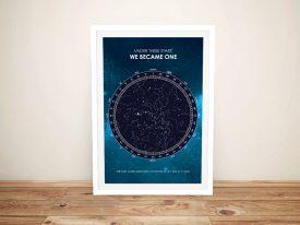 Framed Galaxy Star Map Custom Canvas Art