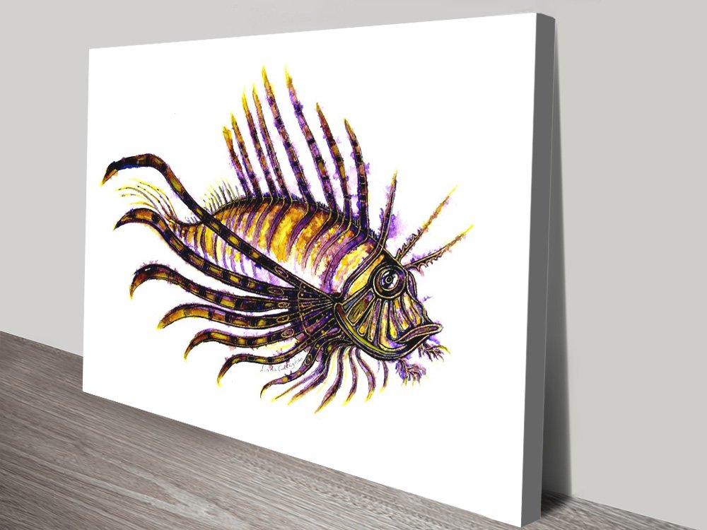 Lion Fish Watercolour Print on Canvas