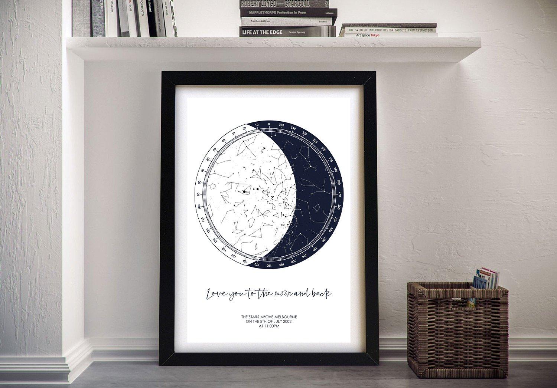Framed Moon Star Chart Custom Canvas Art
