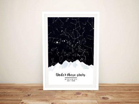 Framed Mountain Design Custom Star Map
