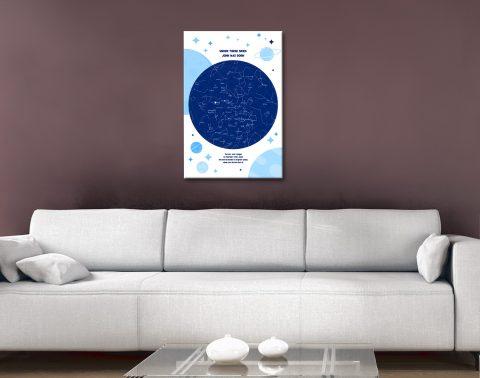 Ready to Hang Newborn Star Map Custom Art