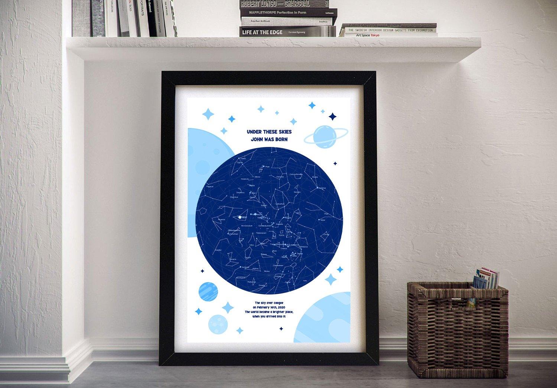 Newborn Star Map Canvas Wall Art