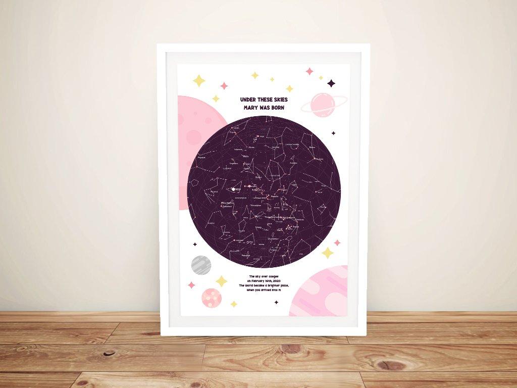 Framed Pink Newborn Star Map Gift Ideas AU