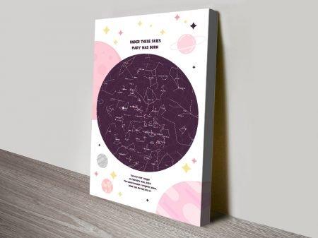 Buy a Custom Star Chart Print in Pink