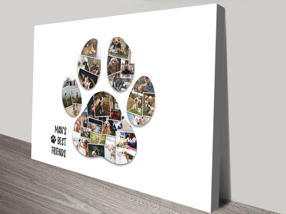 Stretched Canvas Paw Print Collage for Sale