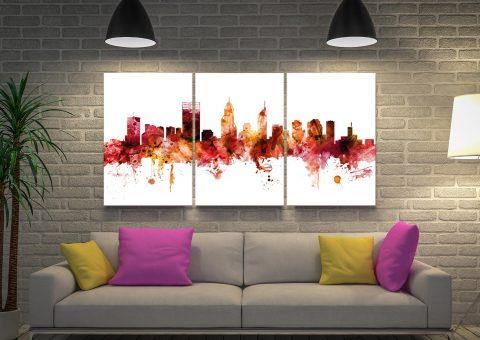 Perth Australia Skyline Triptych Art by Michael Tompsett