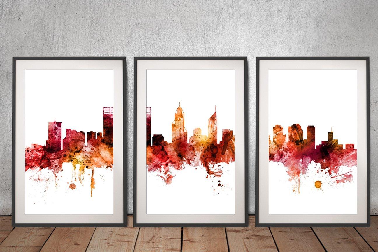 Perth Australia Skyline Framed Triptych Art