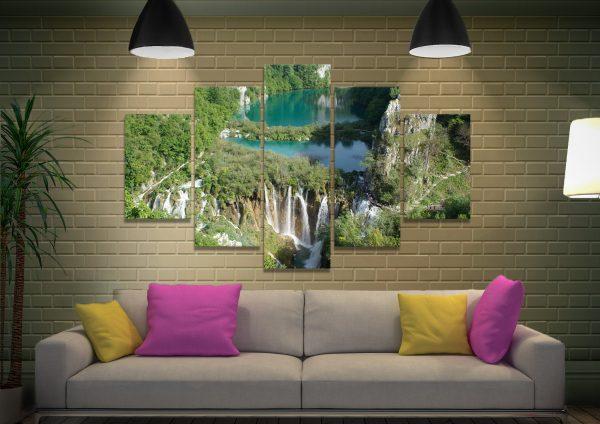 Plitvice Lakes Affordable 5-Panel Wall Art Set