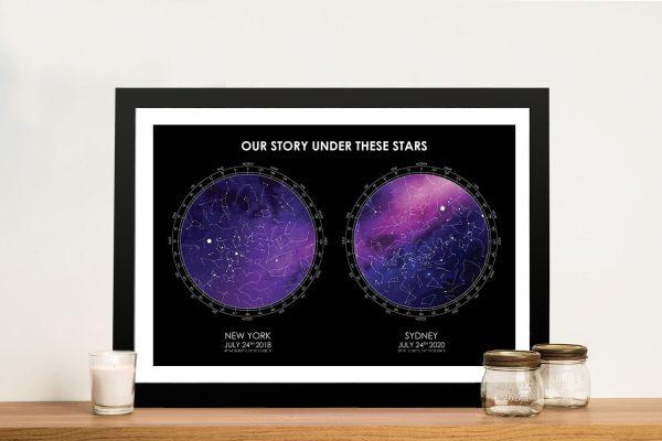 Framed Purple & Black Custom Star Map AU
